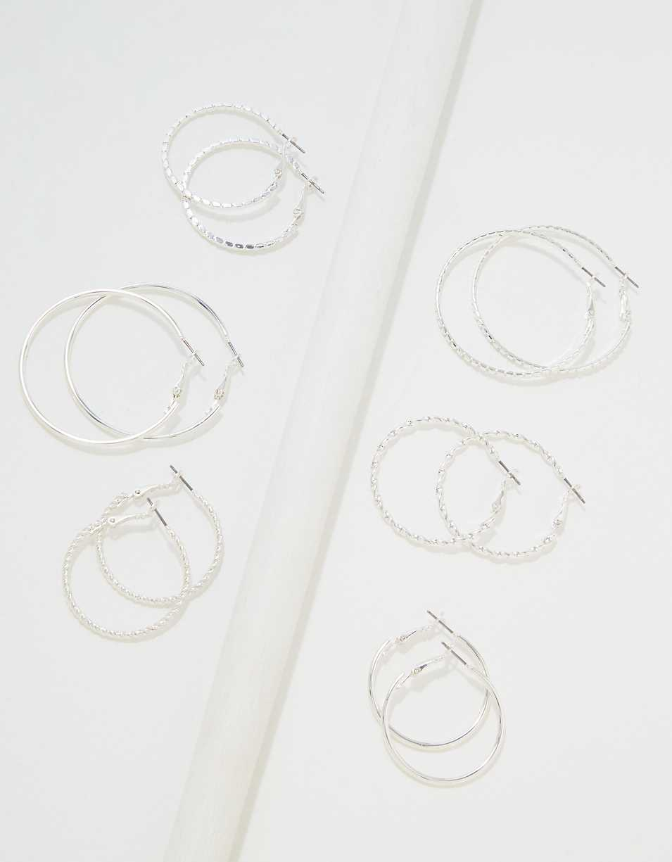 AEO Silver Hoop Earrings 6-Pack