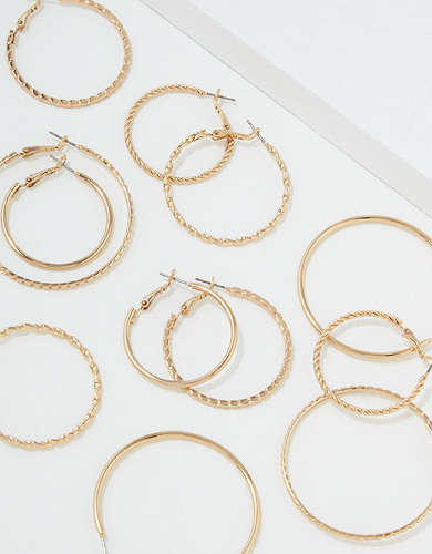 AEO Gold Hoop Earrings 6-Pack