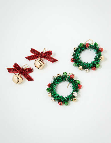 AEO Bell + Wreath Earrings 2-Pack