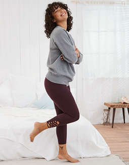 Aerie MOVE High Waisted 7/8 Legging, Deep Plum