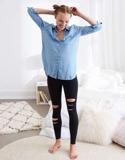 Aerie Chill High Waisted Slash Legging by American Eagle Outfitters