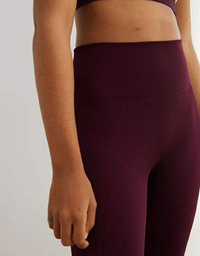 Aerie Play Ribbed Seamless High Waisted 7/8 Legging
