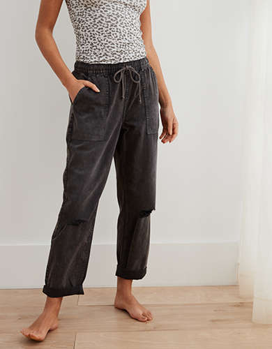 Aerie Chambray Distressed Pant