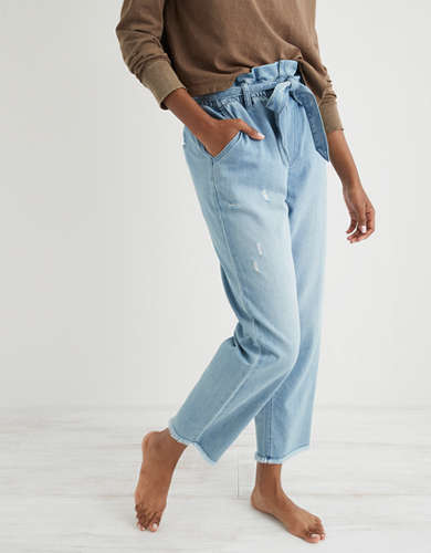 Aerie Denim Paperbag Pant