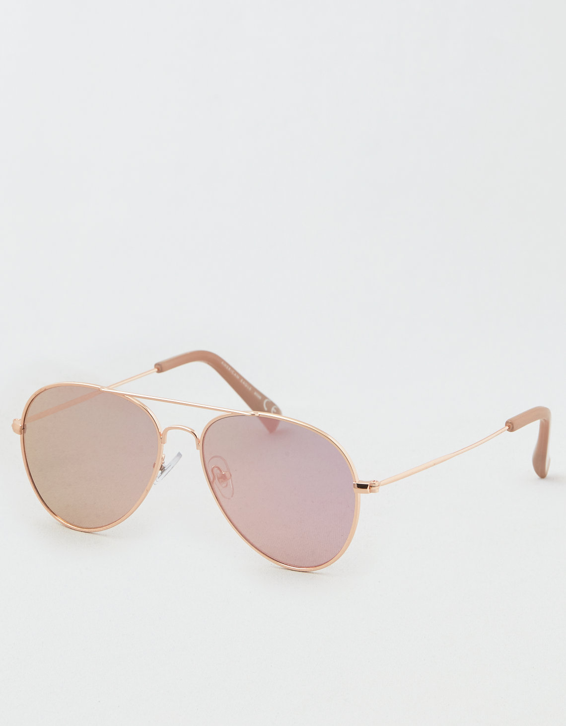 AE Rose Gold Flat Lens Aviator Sunglasses
