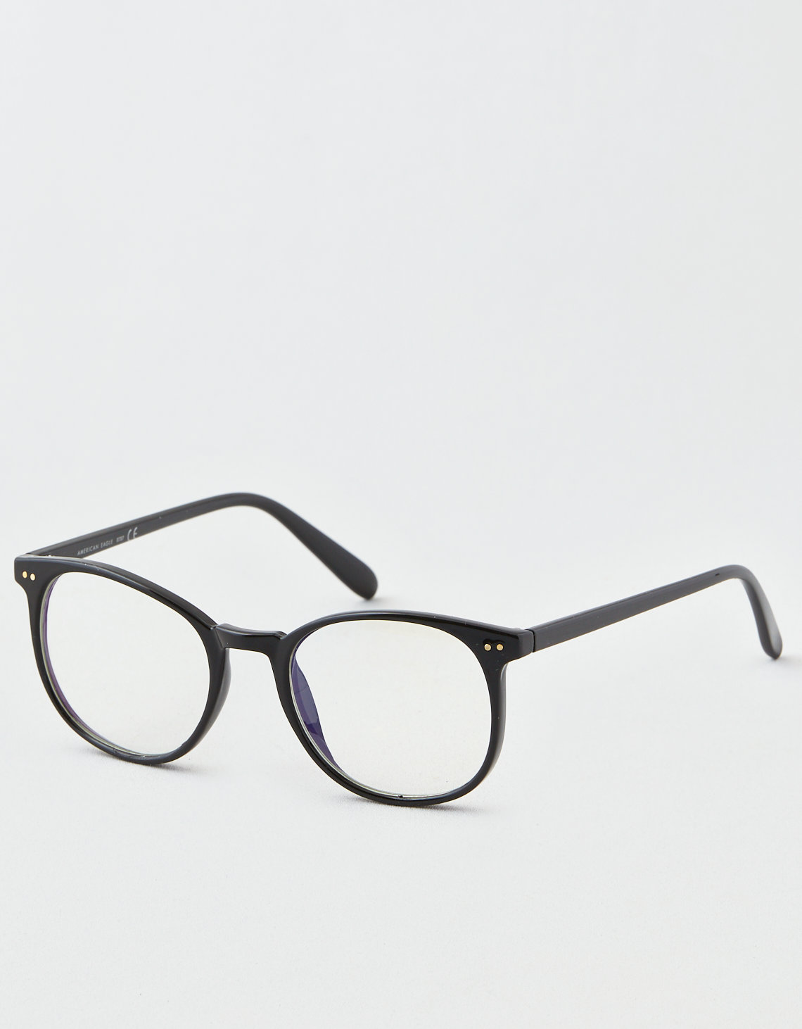 AE Black Round Blue Lens Sunglasses