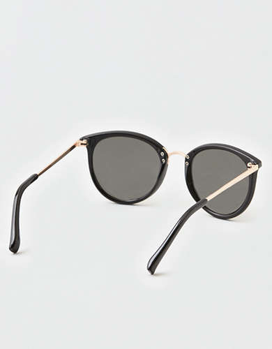 AEO Black + Gold Plastic Sunglasses