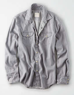 Ae Western Denim Button Down Shirt by American Eagle Outfitters