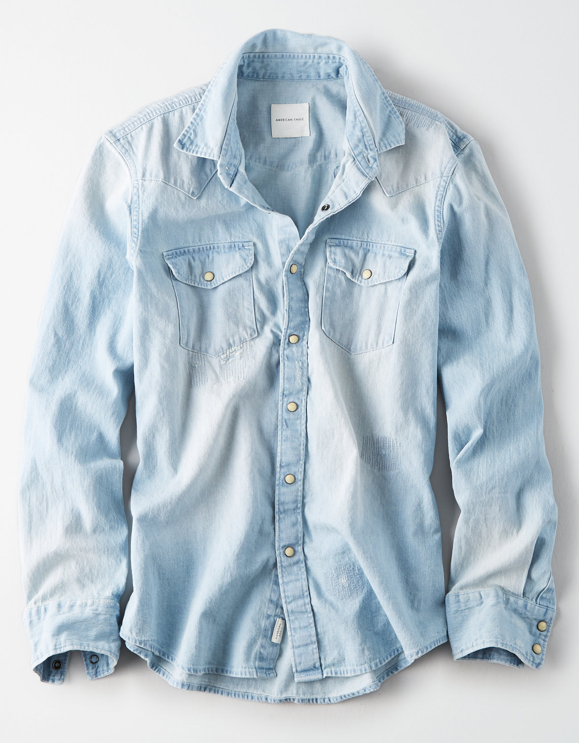 AE Distressed Denim Western Button Up Shirt