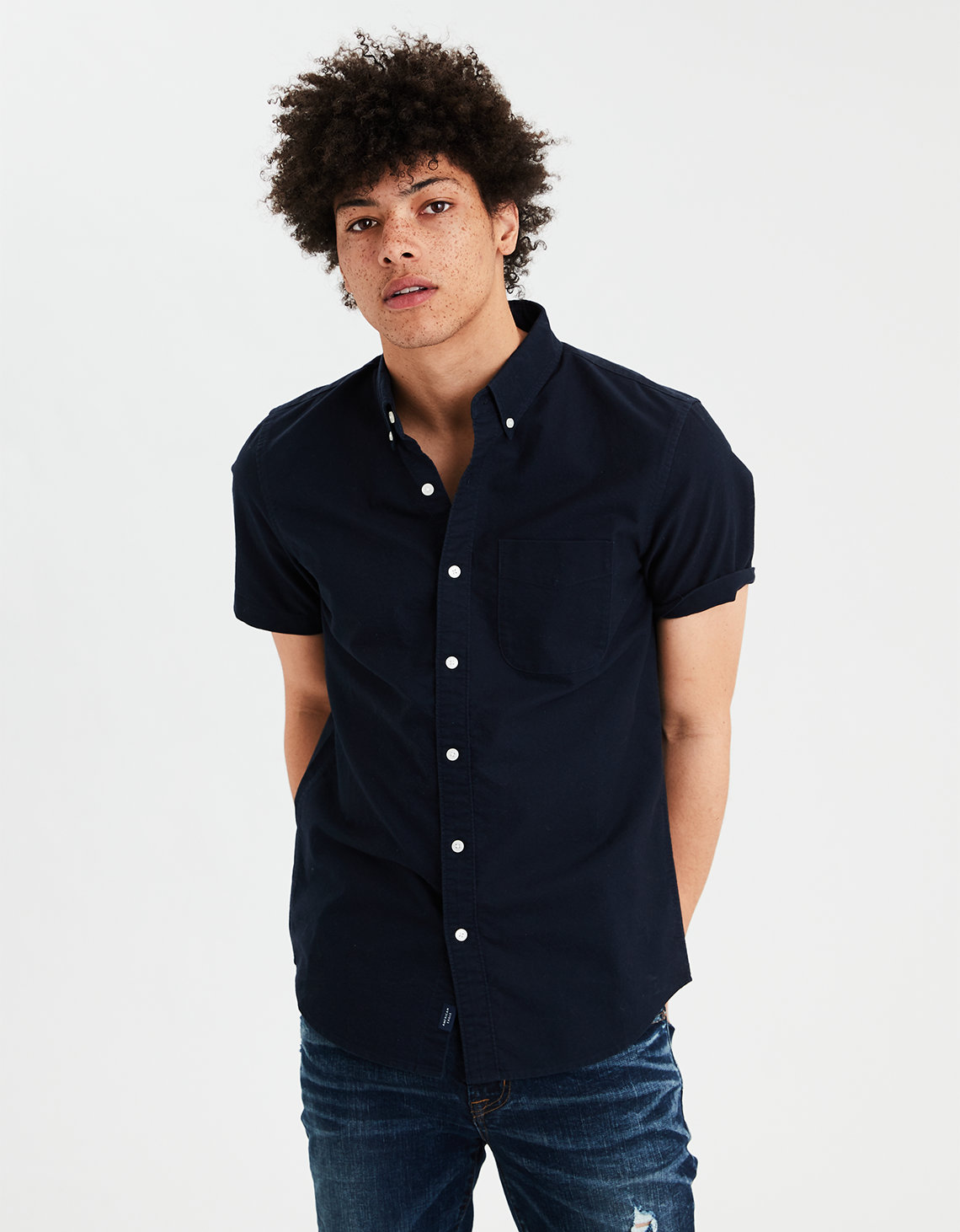 dd830f07 AE Short Sleeve Oxford Button Down Shirt. Placeholder image. Product Image