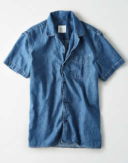 AE Short Sleeve Denim Button Up Shirt