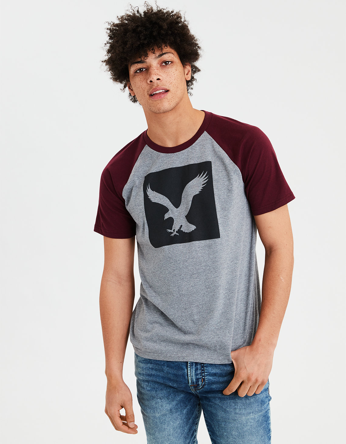 cfca65e8 AE Graphic Tee, Burgundy | American Eagle Outfitters