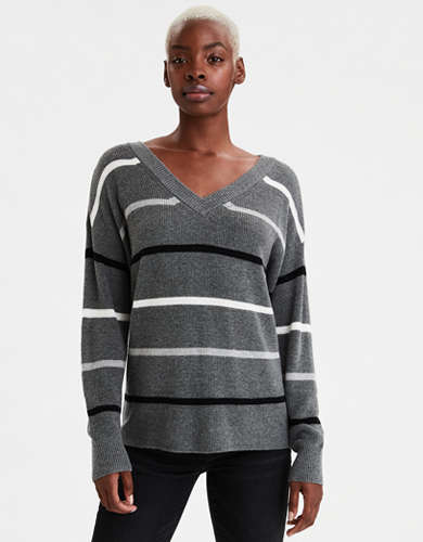 AE Striped V-Neck Pullover Sweater