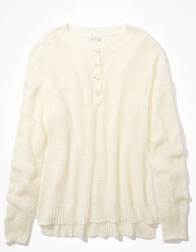 AE Waffle Hi-Low Henley Sweater