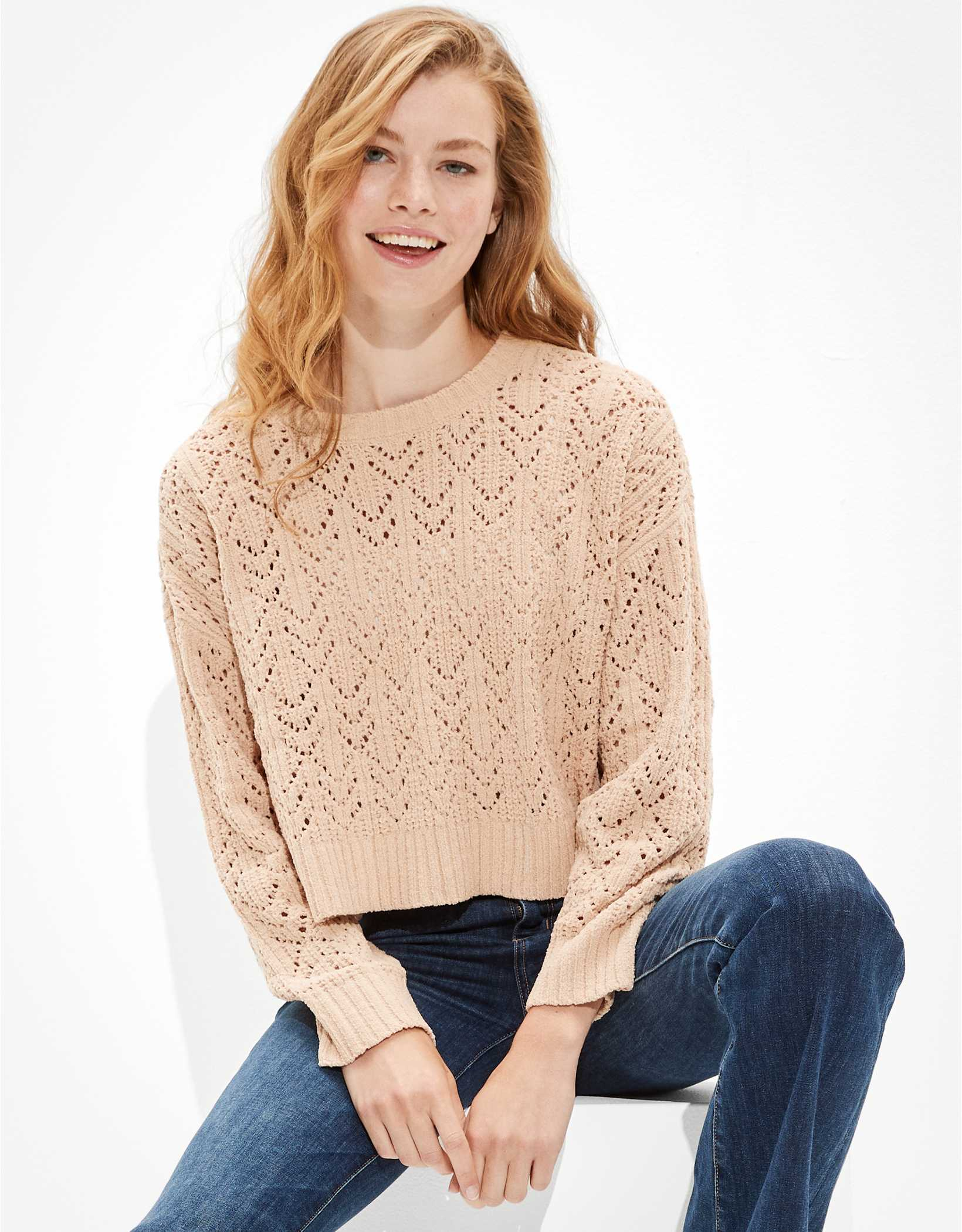 AE Cropped Pointelle Crew Neck Sweater