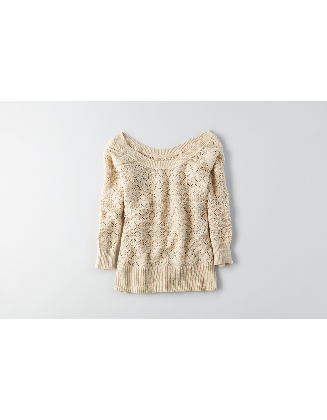 Cream Soft Knit Sweater | American Eagle Outfitters