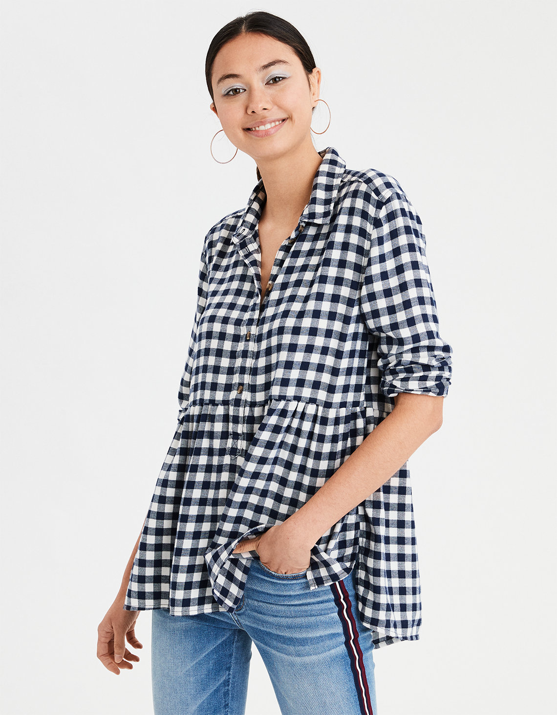 52383c98d6 AE Ahhmazingly Soft Plaid Popover Babydoll Top. Placeholder image. Product  Image