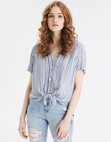 AE Striped Short Sleeve Button Up Shirt