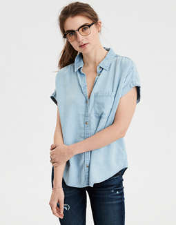 Ae Short Sleeve Tencel Button Down Shirt by American Eagle Outfitters