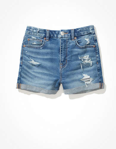 AE Curvy High-Waisted Denim Short Short