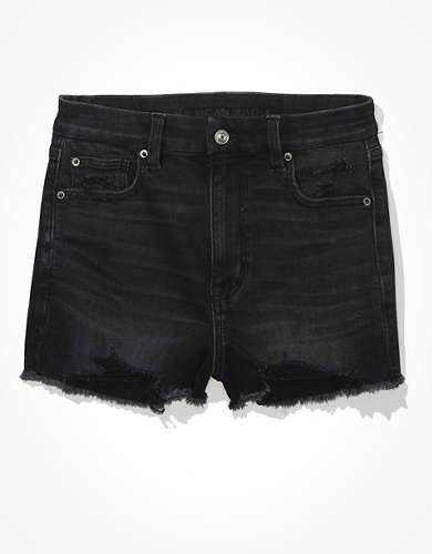 AE Curvy Super High-Waisted Denim Short Short