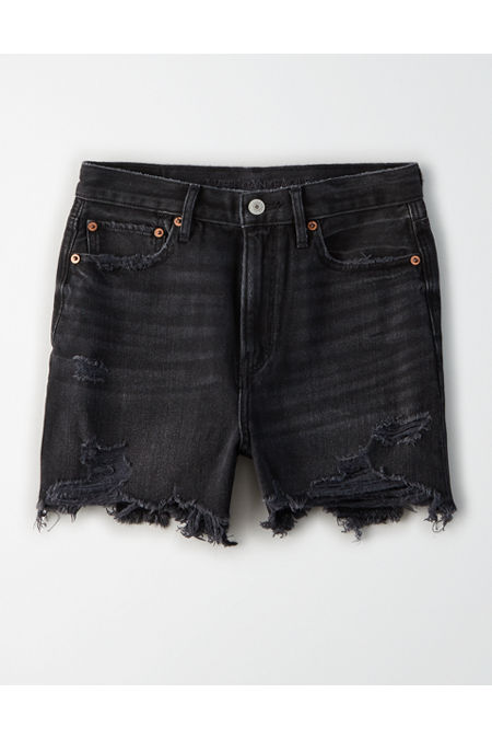 Vintage Shorts, Culottes,  Capris History 90s Boyfriend Denim Short Womens Black Wash 000 $37.46 AT vintagedancer.com