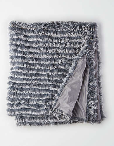 Dormify Ruffled Shag Throw Blanket -