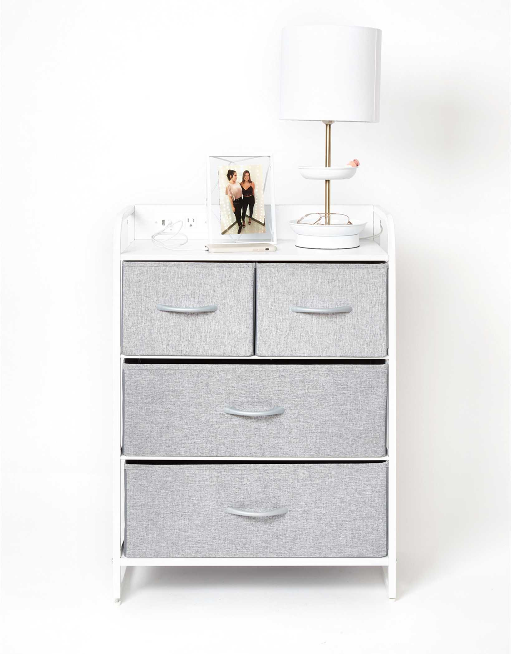 Dormify Tall Charging 3 Drawer Cart on Wheels