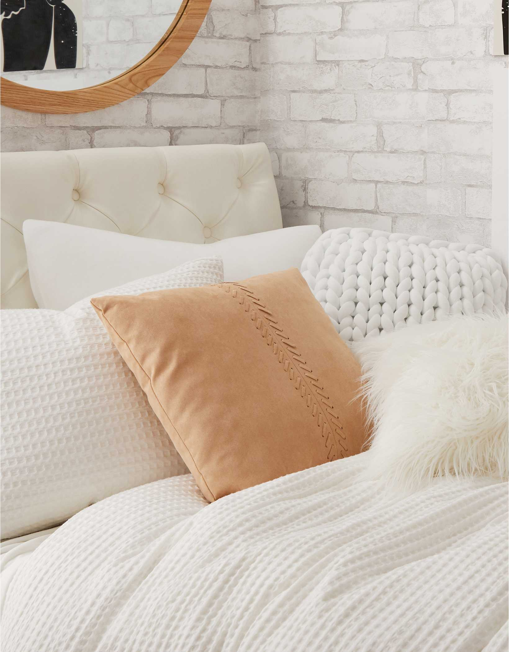 Dormify Stitched Suede Pillow