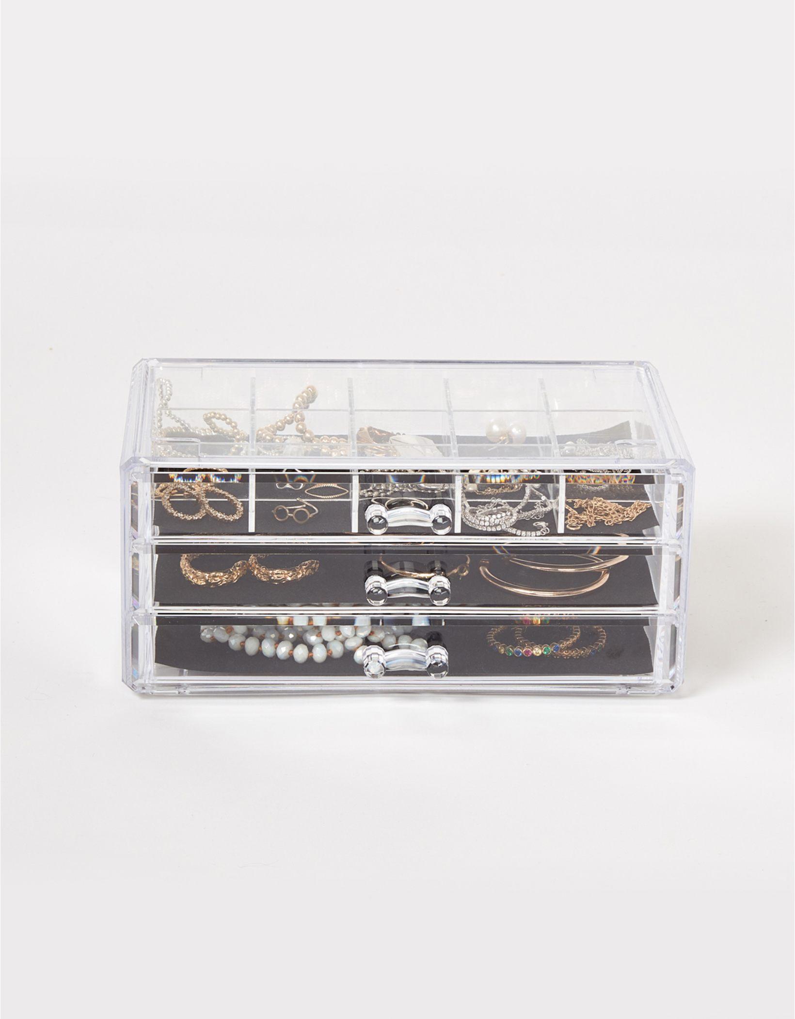 Dormify Clear 3-Drawer Organizer & Jewelry Tray