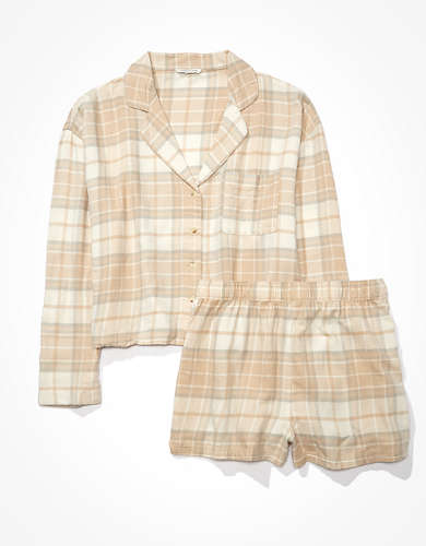 AEO Plaid Flannel Short PJ Set