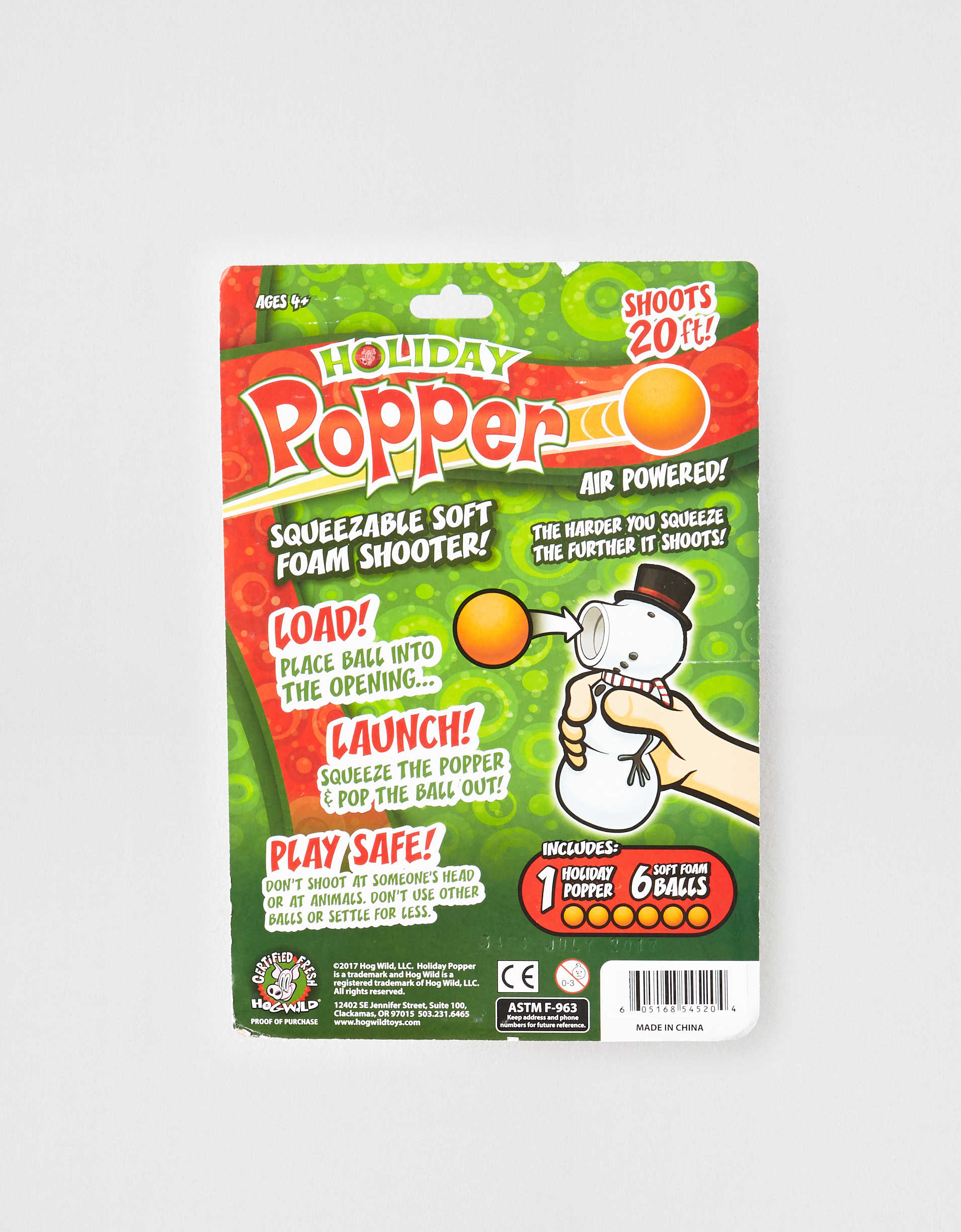Hog Wild Holiday Snowman Squeeze Popper