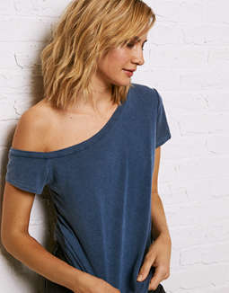 Don't Ask Why Distressed Off The Shoulder Tee by American Eagle Outfitters