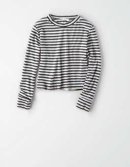 Don't Ask Why Long Sleeve Baby Tee by American Eagle Outfitters