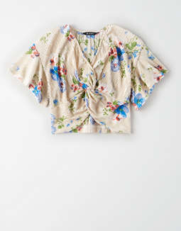 AE Studio Floral Twist Front T-Shirt