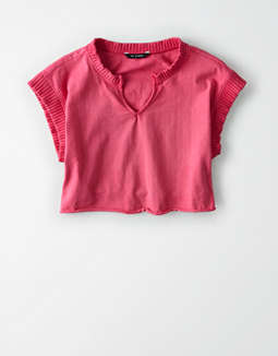 AE Studio Notch Neck Cropped T-Shirt
