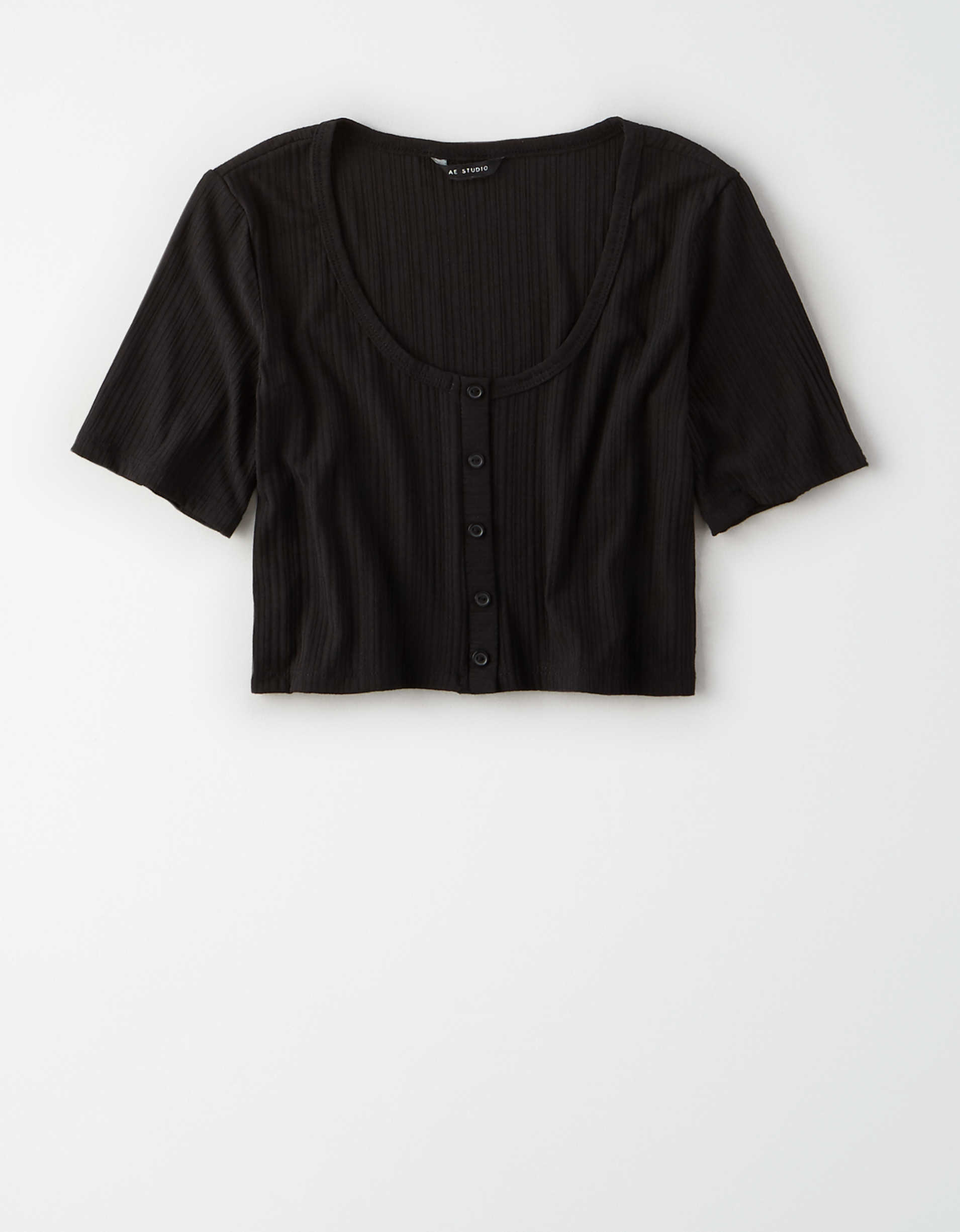 AE Studio Ribbed Button Front T-Shirt