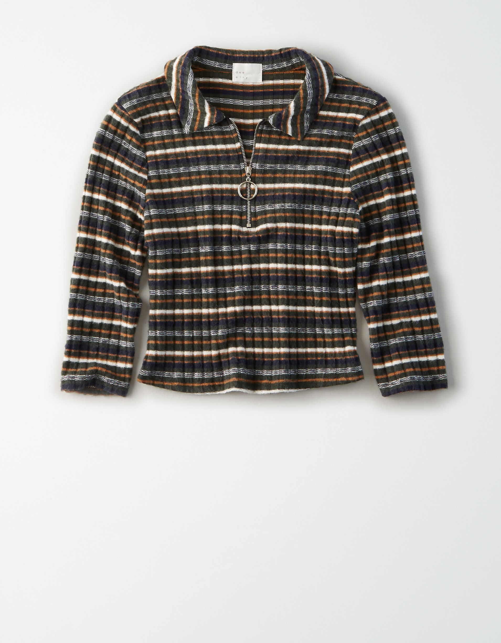 AE Studio Striped Quarter Zip Top