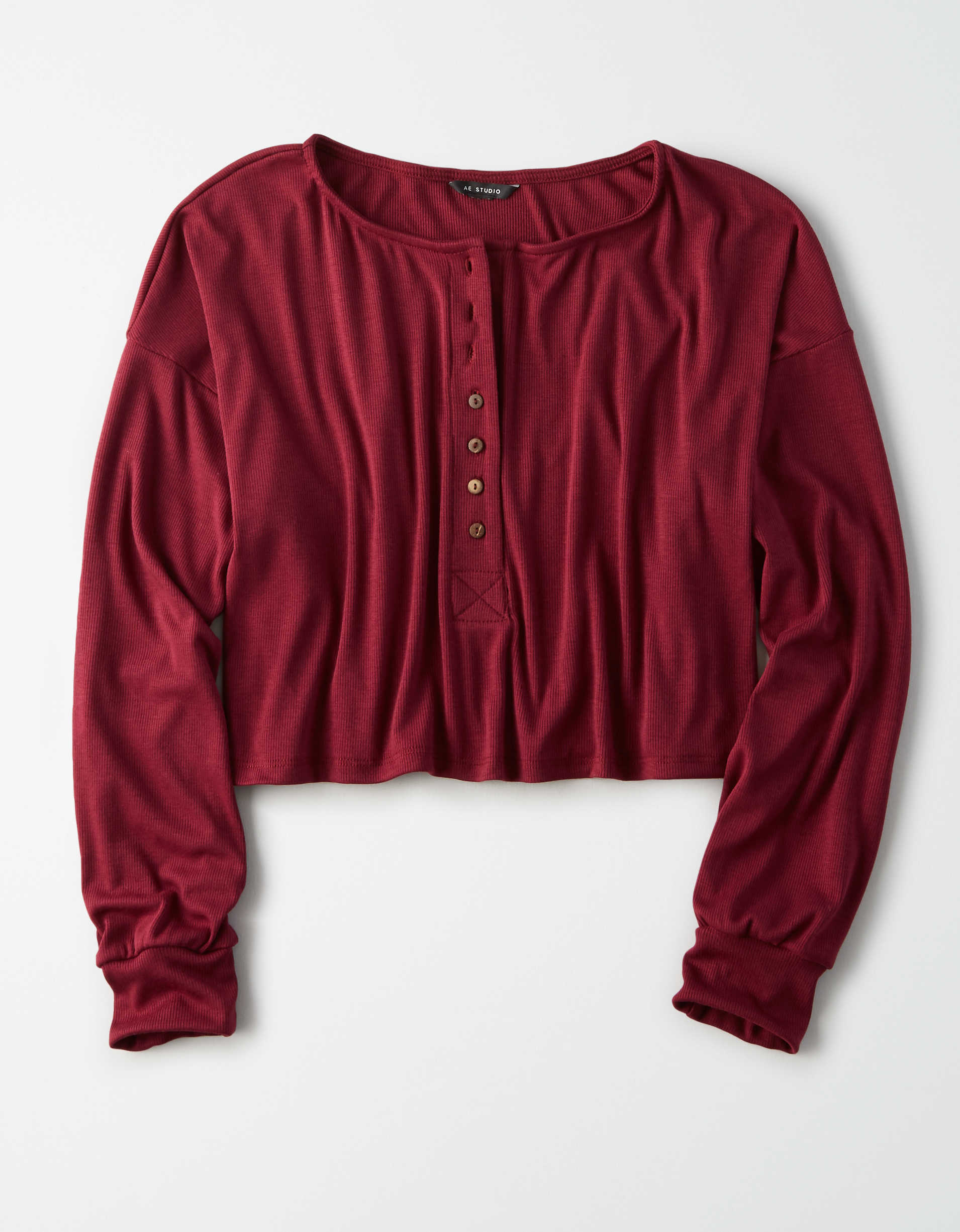 AE Long Sleeve Henley Cropped T-Shirt