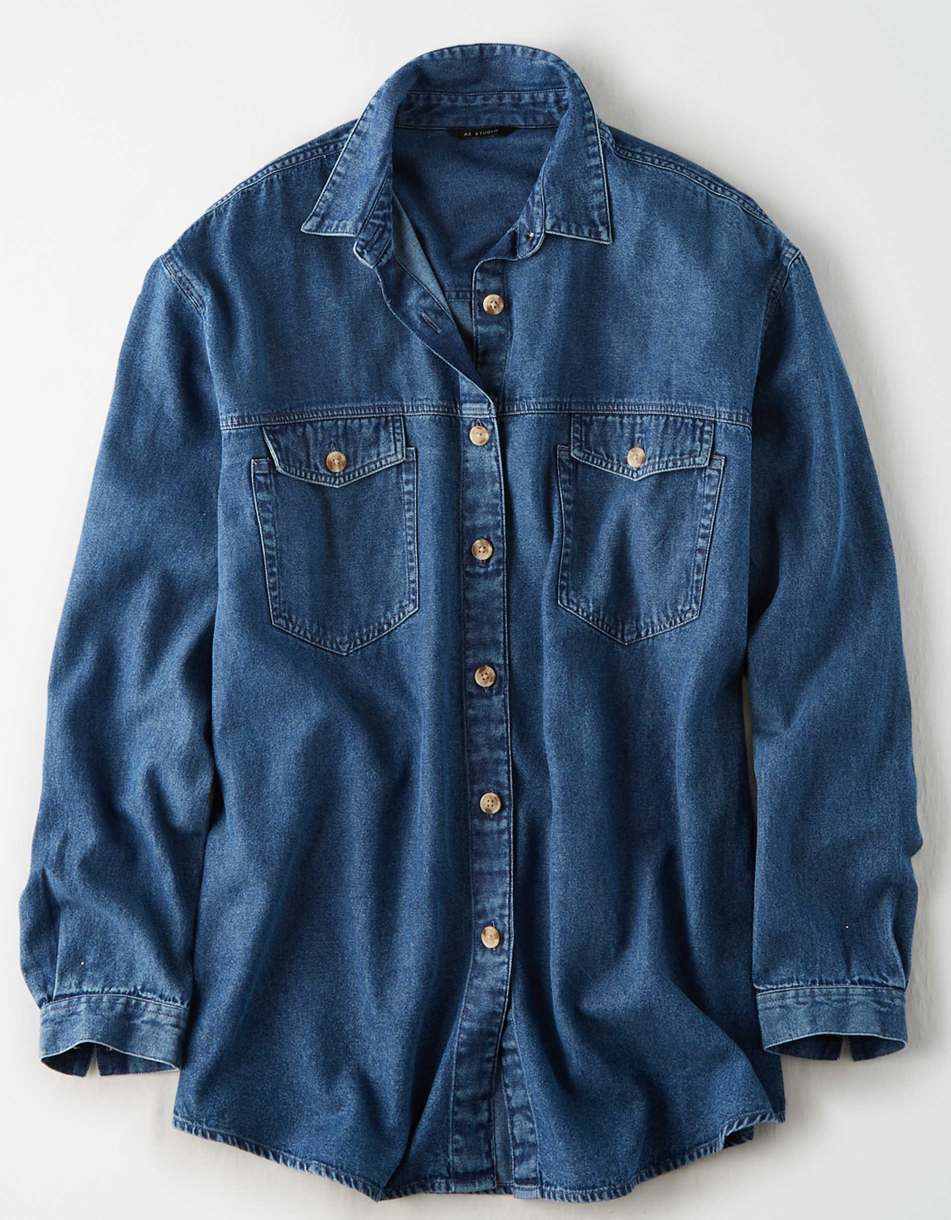 AE Studio Oversized Denim Button Up Shirt