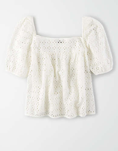 AE Studio Puff Sleeve Eyelet Top