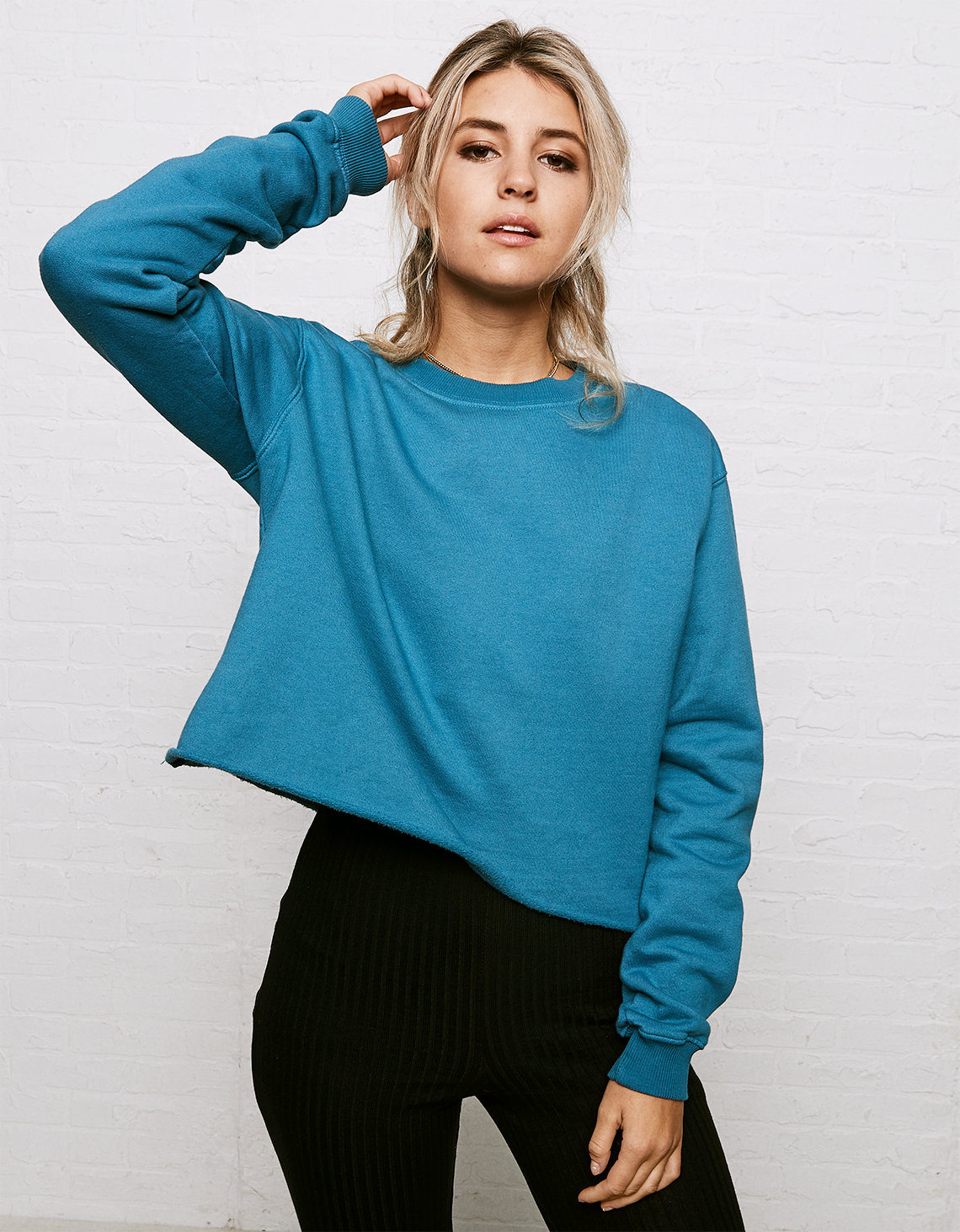 Why Ask Neck Crew Cropped Teal Sweatshirt Eagle Don't American xFPqw5CFd