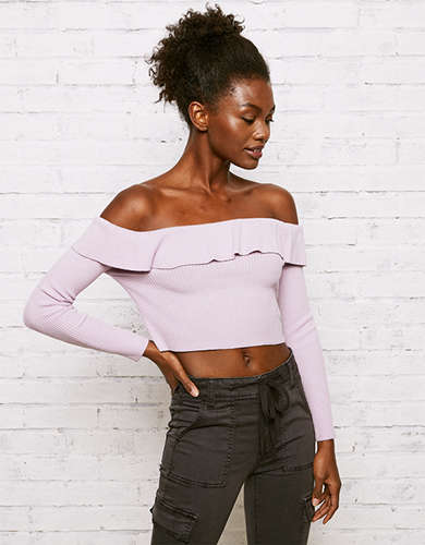 Off The Shoulder Cropped Top American Eagle Outfitters