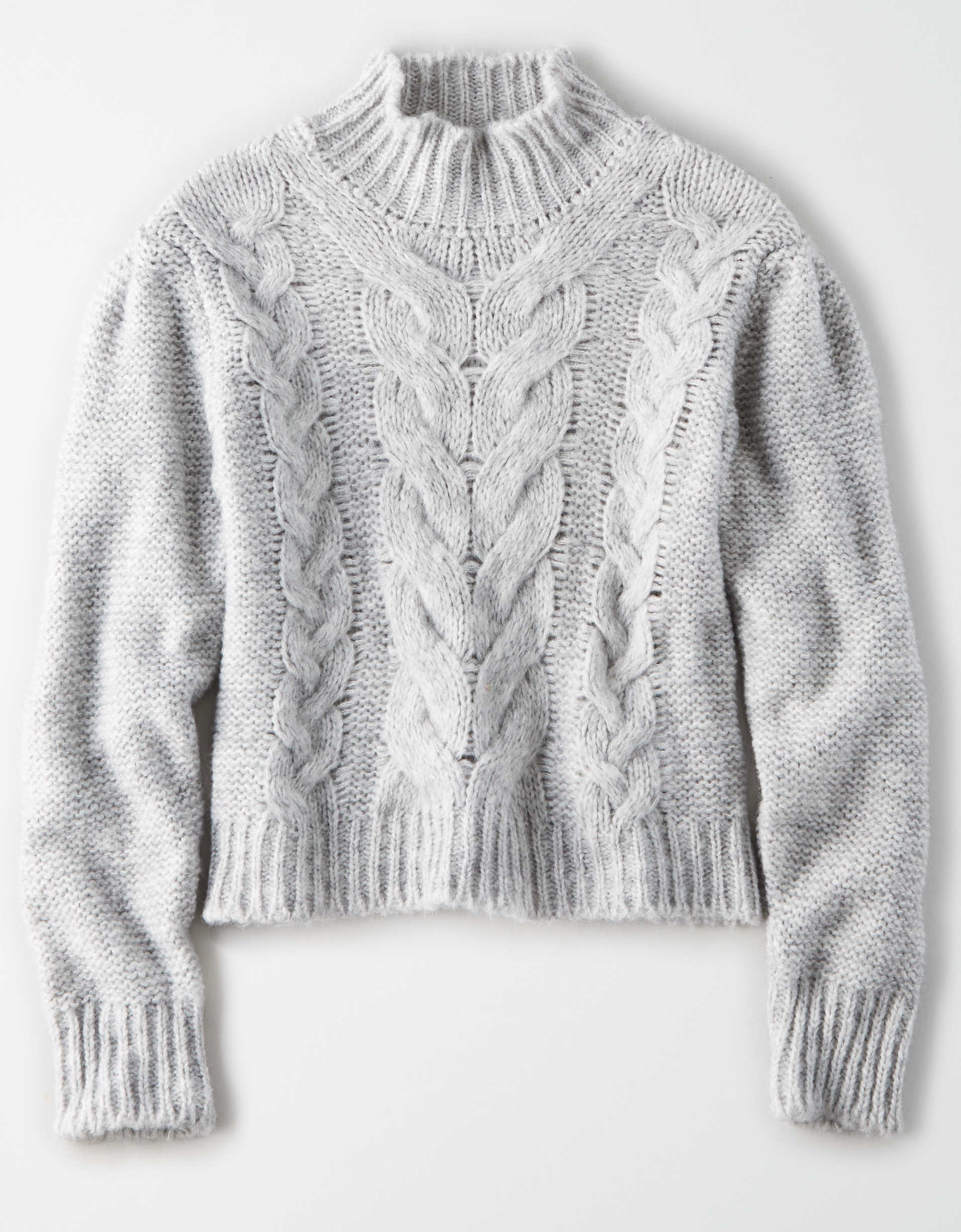 AE Studio Cable Knit Mock Neck Sweater