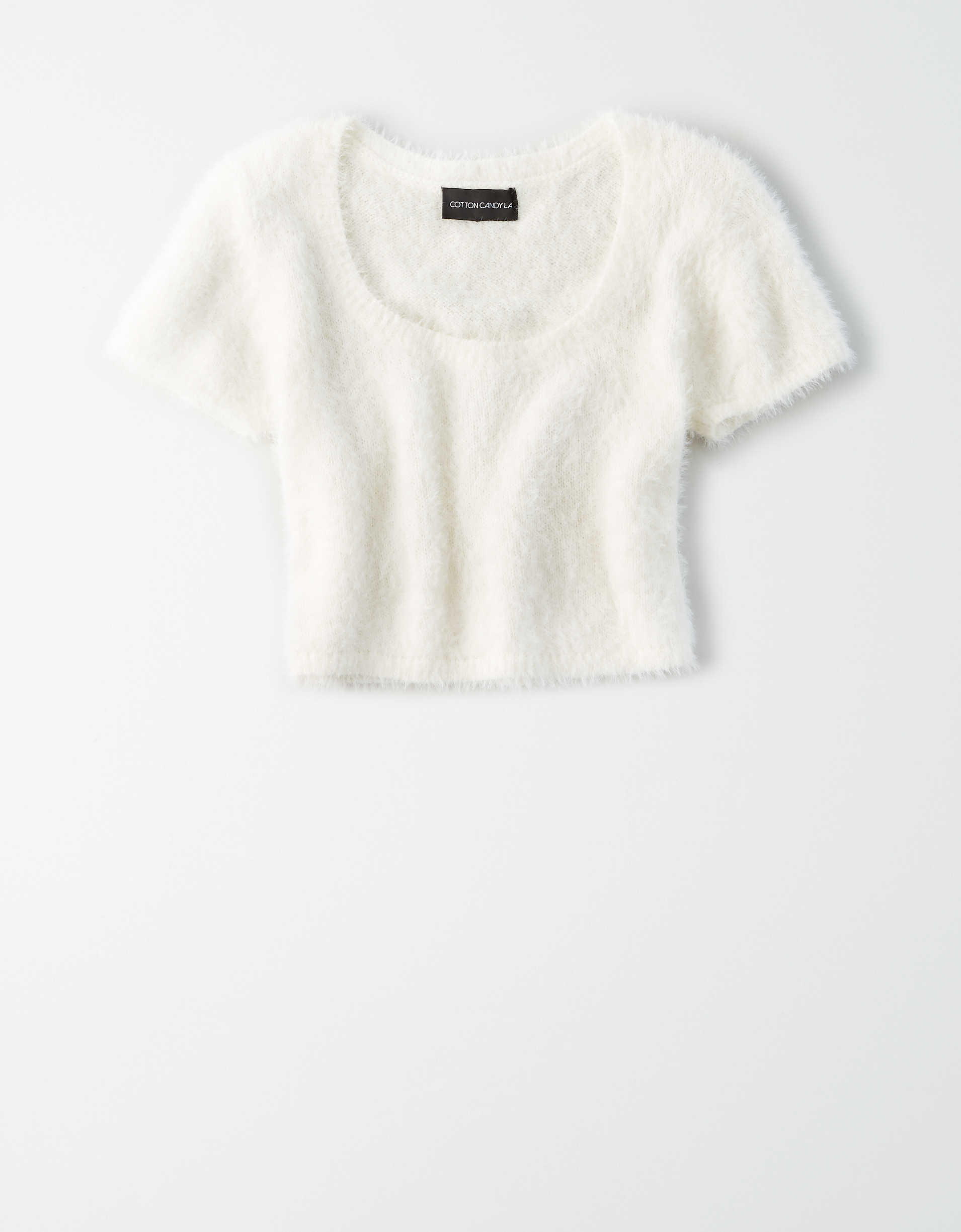 AE Studio Eyelash Short Sleeve Cropped Sweater