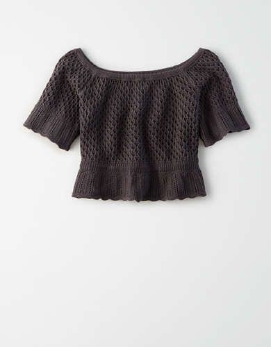 AE Crochet Off-The-Shoulder Top