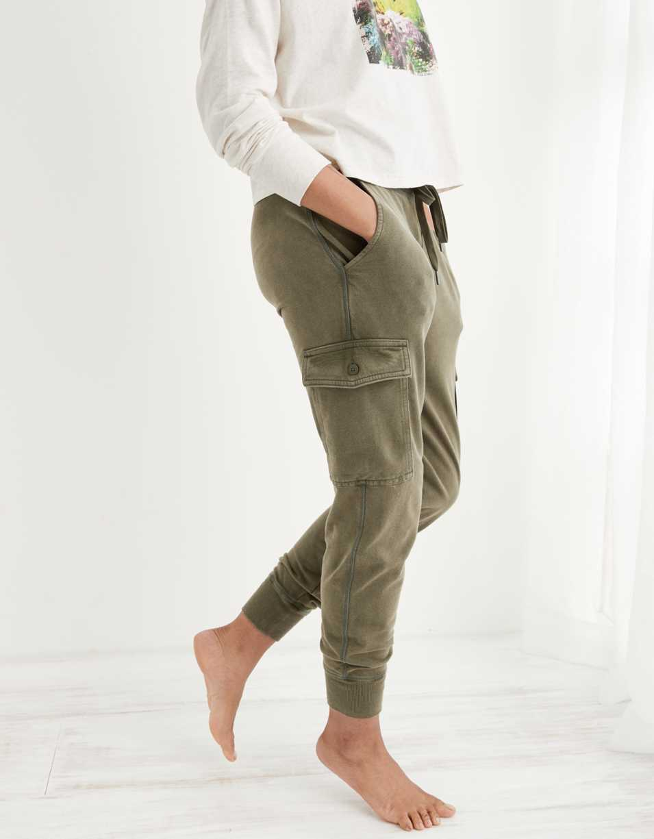 Aerie Sunwashed Fleece Cargo Jogger