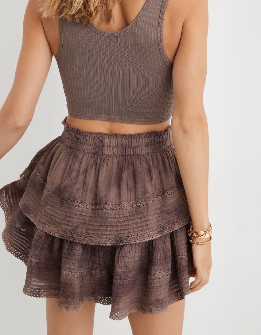 Aerie Rock 'n' Ruffle Tie Dye Mini Skirt