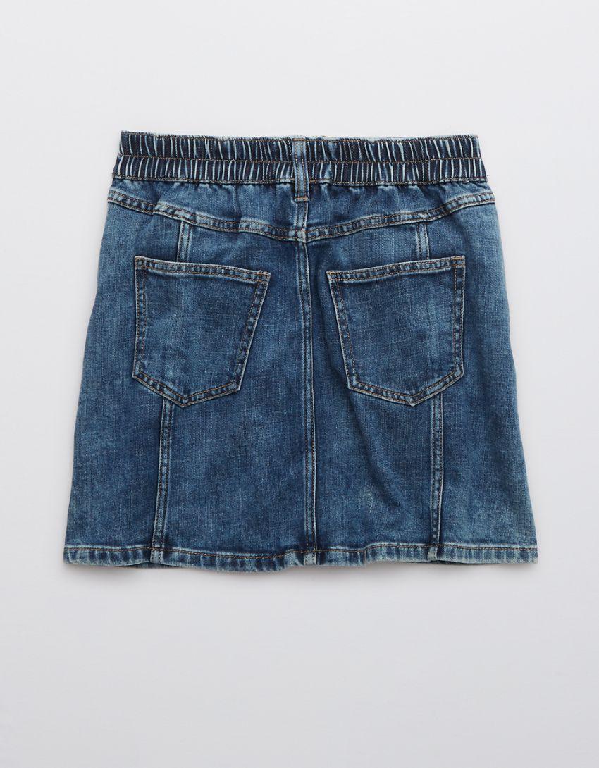 Aerie Button Front Denim Skirt