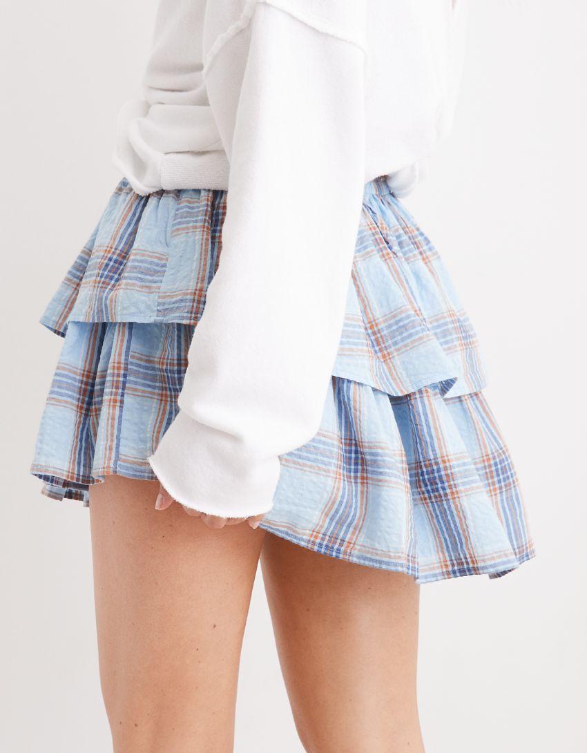 Aerie Rock 'n' Ruffle Plaid Skirt
